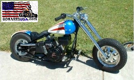 Little Bad Ass Mini Motorcycle 5hp Tecumseh 4 Stroke 45+mph!! TAV-30 Torque Converter, Front Suspension
