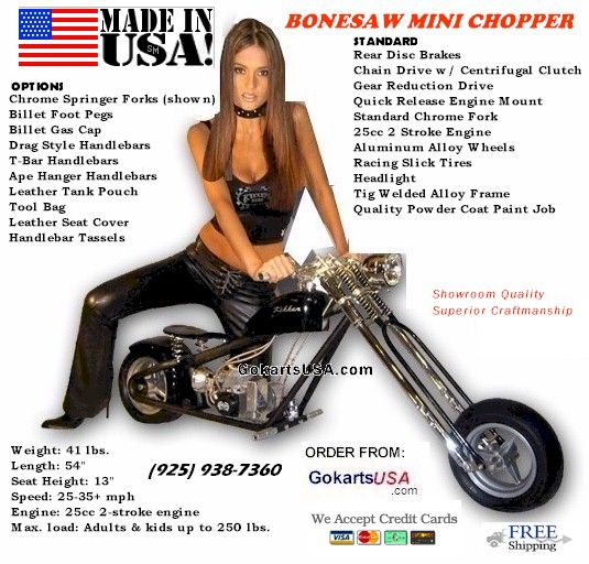 Bonesaw Mini Chopper FREE SHIPPING!! 44cc HP Race Engine!, Rear Disc Brake