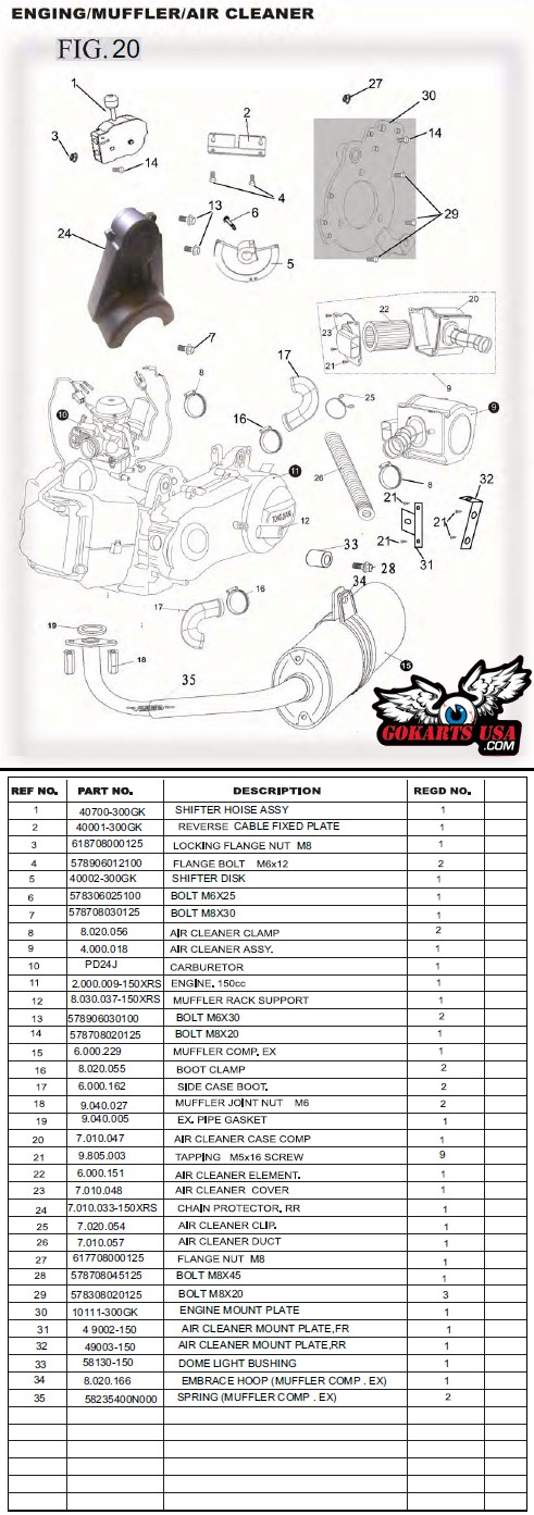 TrailMaster 150 Buggy Intake and Exhaust Parts